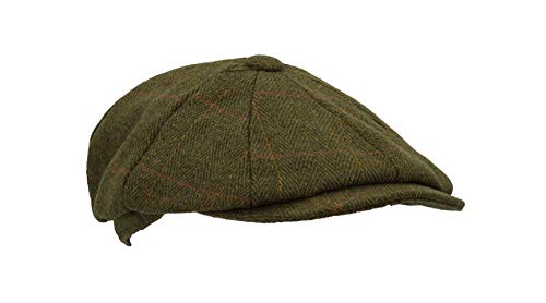 Walker and Hawkes - Cappello newsboy in tweed, unisex, 8 pannelli sauge foncé Medium