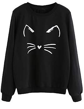ROMWE Women s Cat Print Lightweight Sweatshirt Long Sleeve Casual Pullover Shirt Black S