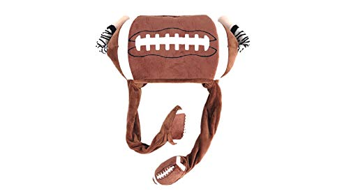 AngryFrog Football hat, Referee arms Moving Funny Costume hat, Funny Party hat Brown