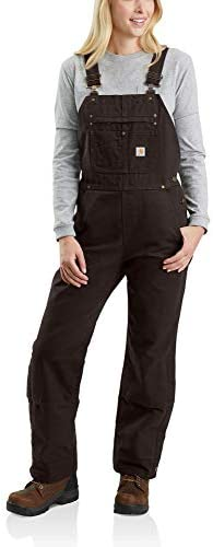Carhartt Women s Quilt Lined Washed Duck Bib Overall Dark Brown X Small product image