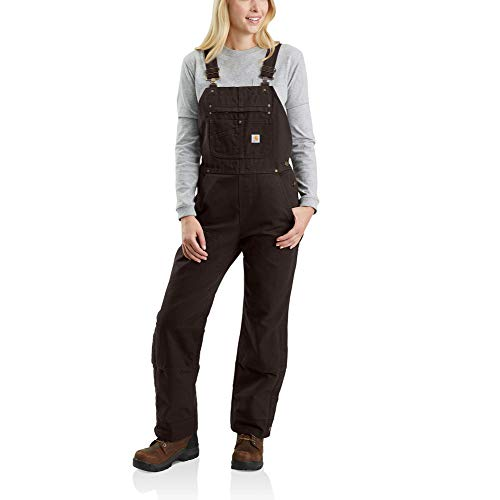 Carhartt Women's Quilt Lined Washed Duck Bib Overall, Dark Brown, Small