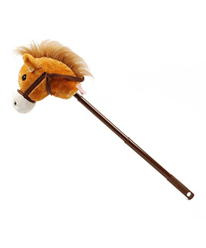Linzy Hobby Horse, Galloping Sounds with Adjustable Telescopic Stick, Brown 36
