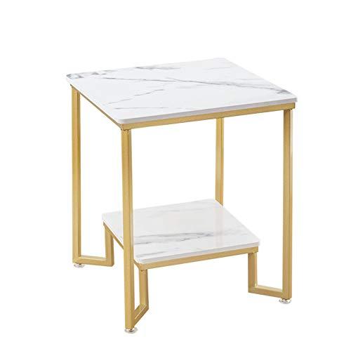 Tavolini Juan Marmo Nordico 2 Piano Moderno Soggiorno Decorazione della Casa Tavolo da caffè Camera da Letto Dorato in Ferro Battuto in Ferro Comodino Tavolo da Letto Quadrato Tavolo Angolo, 50x50x