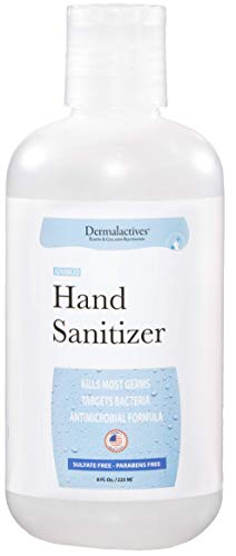 Dermalactives Alcohol Based Hand Sanitizer Gel 8 Fl Oz (1 pack), Perfect for Travel, Protects Against Germs, Made in USA