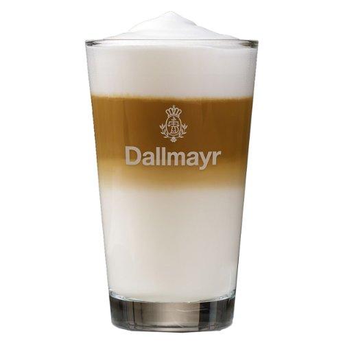 Dallmayr Latte Macchiato Glas mit grauem Aufdruck, Cappuccino, Kaffeeglas, Milchkaffee, 250 ml