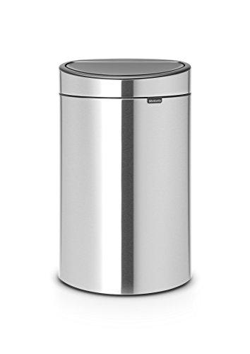 Brabantia Touch Bin Cubo de Basura para Reciclaje, 23+10 litros, Acero Mate antihuellas
