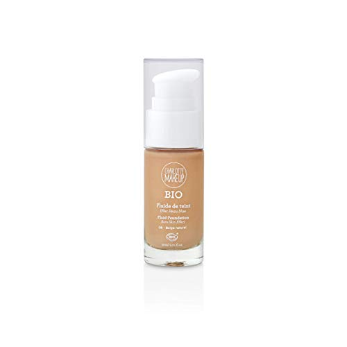 Charlotte Make Up – Base de maquillaje fluida orgánica – Color: beige natural – Unificar y revelar el brillo del maquillaje – Cubre imperfecciones – Acabado mate natural – Efecto piel nue – 30 ml