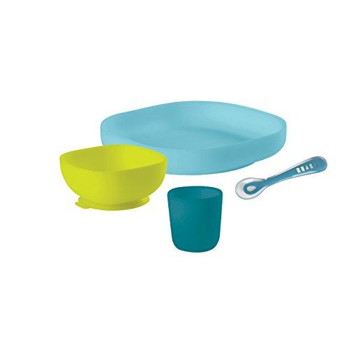 Béaba – Silikon-Esslerngeschirr-Set mit Saugnäpfen – Komplett 4-teilig – Teller, Schale, Tasse + Löffel aus hochwertigem Silikon und mit Saugnäpfen – Erleichtert das Füttern von Babys – blau