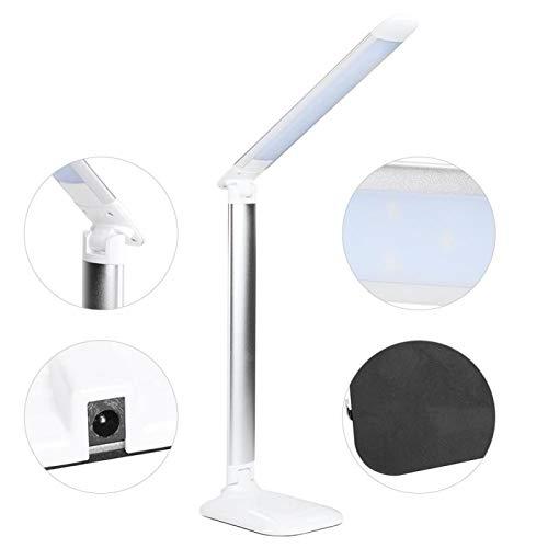 Lámpara de mesa LED regulable, lámpara de lectura de oficina regulable plegable y respetuosa con el medio ambiente para uso en dormitorios, salas de estudio y oficinas