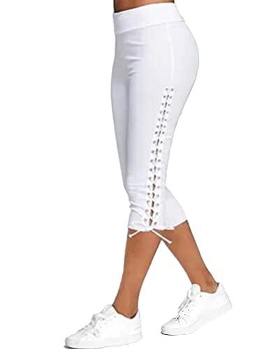 shownicer Damen Comfort 3/4 Legging Capri Sporthose Stretch Stoffhose Sommerhose Knielang Leggings Freizeithose Weiß XL