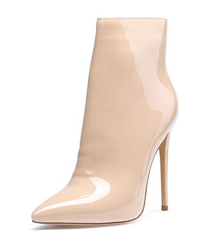 CASTAMERE Damen Reißverschluss Stiefeletten Stilettos Hoch Heel 12CM Beige Lackleder Schuhe EU 42