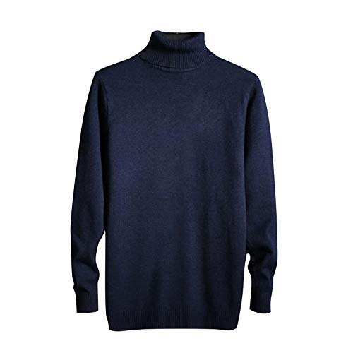 Men's High Collar Slim Sweater Autumn Winter Long Sleeve T Shirts Fashion Knitted Sweater Blouse Plus Size Tops (Navy, M)