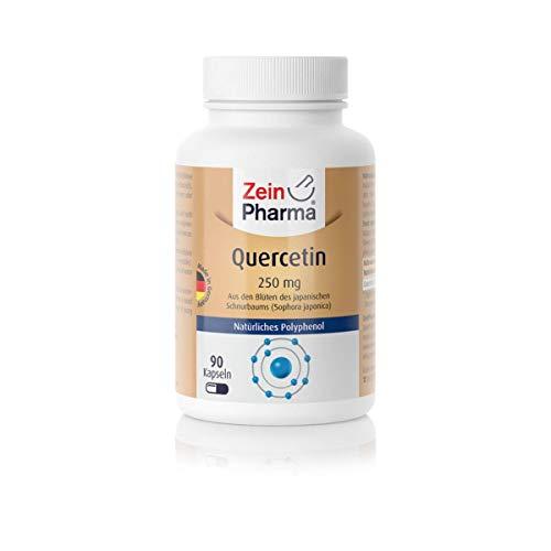 ZeinPharma Quercetin 250 mg 90 Kapseln (3 Monate Vorrat) Glutenfrei, vegan, koscher & halal Hergestellt in Deutschland, Multicolour, Neutral, 33 g