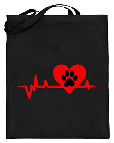 Hartlijnpoot - hond/kat liefde EKG Heartline hart - eenvoudig en grappig design - jute zak (met lange hengsels)