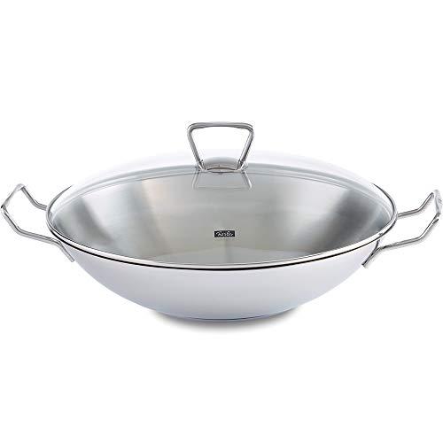 Fissler kunming/roestvrijstalen wok (Ø 36 cm) grote wokpan zonder coating, Aziapan met glazen deksel, incl. rooster, alle warmtebronnen, ook inductie
