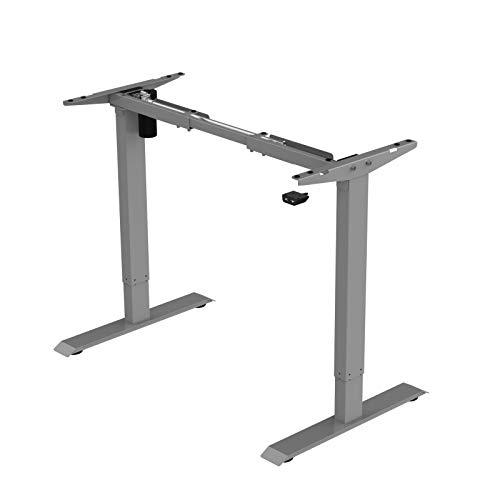 Jet-line Homeoffice höhenverstellbarer Schreibtisch Basic grau Elektrisch Bürotisch Ergonomisch Motor Stufenlos Höhenverstellbar Tischgestell Büro Tisch grau