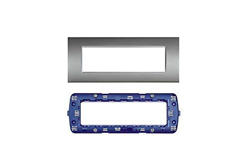 LineteckLED -Serie Completa di Placche per Interruttori Prese- Kit Placca 7 Posti 7M Compatibile living + Supporto 7 Posti Compatibile living (GRIGIO CHIARO)