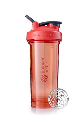BlenderBottle Pro28 Tritan Trinkflasche mit BlenderBall, optimal geeignet als Eiweiß Shaker, Protein Shaker, Wasserflasche, BPA frei, skaliert bis 600 ml, Fassungsvermögen 820 ml, coral