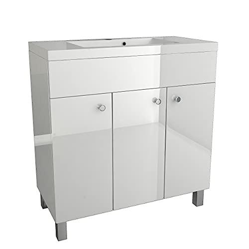 Waschbecken mit Unterschrank IGA Waschtischunterschrank, Stehend, Eckig, Keramik, Badmöbel Set Waschplatz (Weiß, 80 cm)