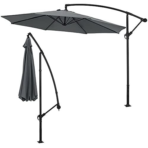 3m Large Banana Parasol Umbrella with Crank Handle – Hanging Cantilever...