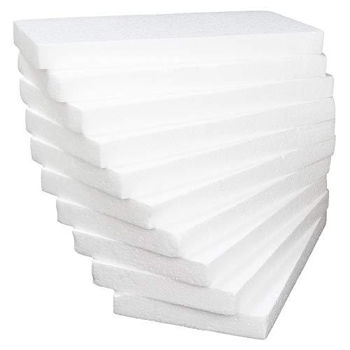 AHUNTTER 10 Pack Styrofoam Blocks 30 x 15 x 2.5cm Rectangle Polystyrene Foam Bricks Craft Foam Block for Sculpture Modeling DIY Arts Crafting Kids Class Floral Arrangement - White