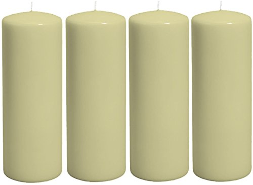 Pure Air 4 x Classic Candles Church Pillar Candles (Large, Ivory) (7x20cm)