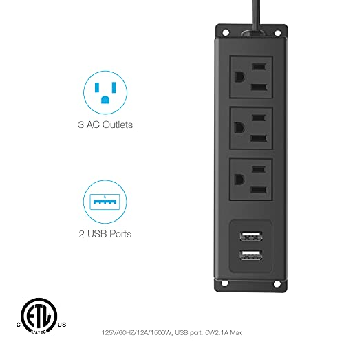 CCCEI 3 Outlets Wall Mount Power Outlet Strip with USB, Under Desk Power Strip Mountable Flat Plug, Desk Mount Power Strip with 6FT Power Cord, 125V 60HZ 12A 1500W.