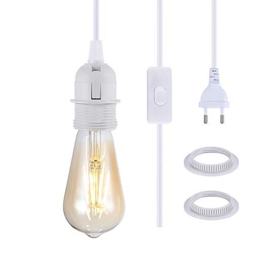 NUODIFAN E27 Lampenfassung 2 Stück Mit Schalter/ E27 Fassung Lampenaufhängung Pendelleuchte Hängeleuchte/ 3,50m Netzkabel/ 1-flammig Weiß Packung mit