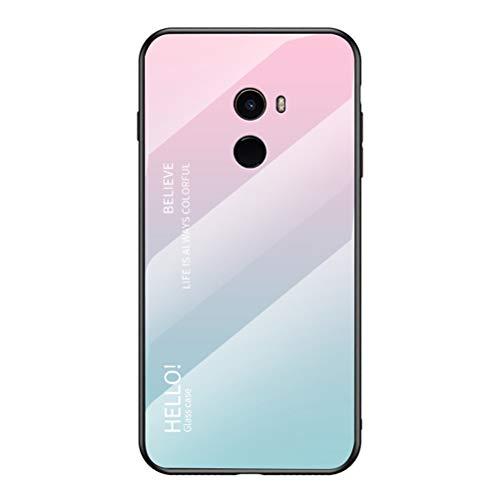 Capa para Mi Mix 2, capa traseira fina de vidro temperado resistente a arranhões + capa protetora híbrida de silicone TPU macio para Xiaomi Mi Mix 2 6 polegadas rosa + azul