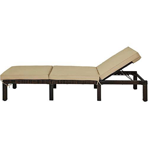 KJGHJ Outdoor Rattan Lounge Chair Chaise Recliner Adjustable Cushioned Patio Yard, Garden Recliner