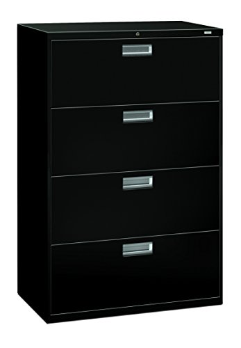 The HON Company HON 4-Drawer Office Cabinet-600 Series Lateral Legal or Letter File Cabinet, 19.75' D), 4-Drawer Black
