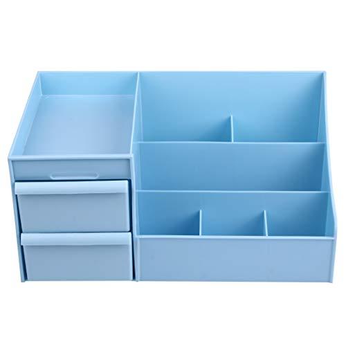TIANTUOS Multifunktionale Küchenregale Desktop-Korb Badezimmer Tidy Organzier Kosmetik Storage Box Rahmen (Farbe : Blue)