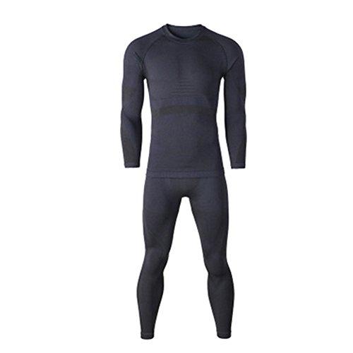 Meijunter Hommes Sports Manches Longues Base Layer Pant Ski Ski sous-Vêtements Thermiques Long Johns Noir L