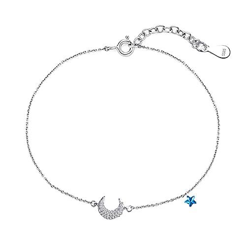 Pulsera para mujer, diseño de estrella de la luna, plata de ley y accesorios de muñeca