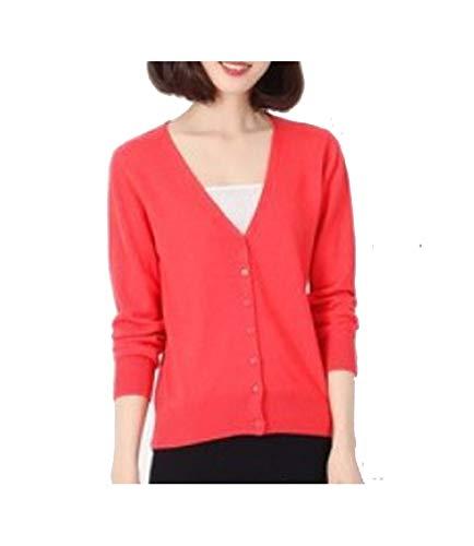Sunny1 Kaschmir-Cardigan O-Kragen Strickshirt Slim Korean Version von The Big Yards Short Sweater Women Dress Gr. XL, Wassermelone Rot Vk