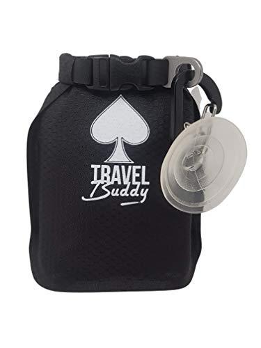 mobiler Seifenbehälter für Seifenwürfeln mit Karabiner und Saugnapfhaken/wasserfest, extraleicht, ideal für die Dusche am Campingplatz geeignet.