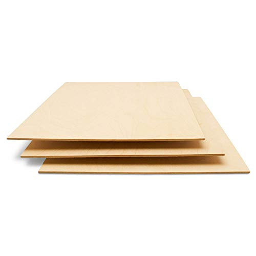 Baltic Birch Plywood, 3 mm 1/8 x 12 x 20 Inch Craft Wood, Pack of 20 B/BB Grade Baltic Birch Sheets, Perfect for Laser, CNC Cutting and Wood Burning, by Woodpeckers