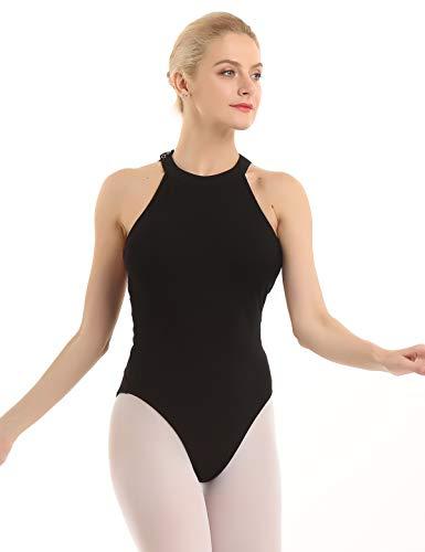 ranrann Maillot de Danza Ballet para Mujer Halter Leotardo Body de Gimnasia Rítmica Estampado de Flores Disfraz de Bailarina Traje Yoga Fitness Negro X-Small