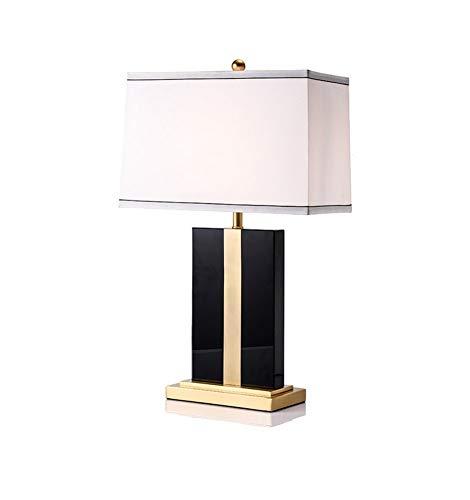 Tafellamp van zuiver koper in Amerikaanse stijl, eenvoudig, vierkant, voor woonkamer, slaapkamer, nachtkastje, monster zwart, 40 & tijden, 66 cm.