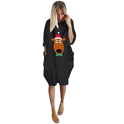 Auiyut Damen Minikleid Weihnachten Tunika Kurzarmshirt Rundhals T-Shirt Oversize Rentier Bluse Übergroße S-5XL Frauen Beiläufige Jumper...