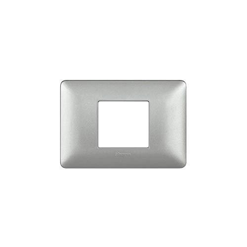 Bticino AM4819MSL Placca Matix 2 Moduli, Centrati Silver