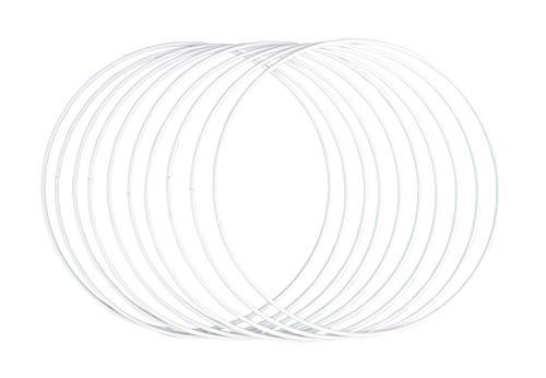 Rayher 25215102 Metallringe, 10 Stück, 20 cm ø, weiß beschichtet, Stärke ca. 3 mm, Drahtringe zum Basteln, für Wickeltechnik, Traumfänger, Floristik, Hochzeitskranz, Hoops