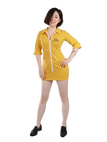 CoolChange Sexy Gefangene Damen Kostüm I Sträflings Kleid für Junggesellinnenabschied I Orange | Größe: S