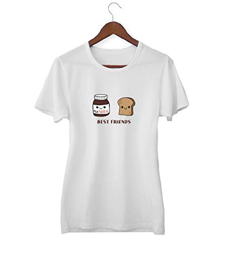 Best Friends BFF Nutellla Butter Bread Mix_KK015907 Shirt T-Shirt Tshirt Für Frauen Damen Gift for Him Present Birthday Christmas - Women's - Large - White