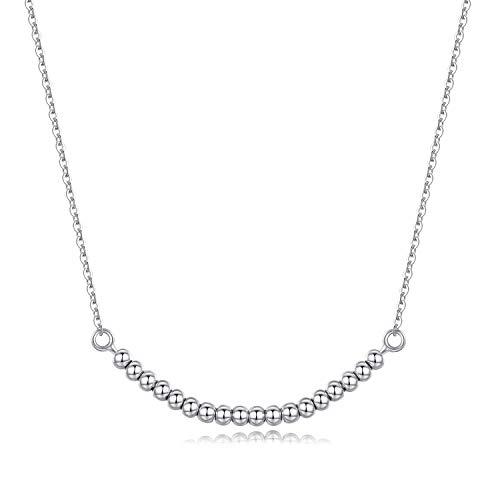 Perlen-Halskette für Frauen und Mädchen, 925er Sterlingsilber, Geschenk zum 18. Geburtstag, einfache Halskette, Alltagsschmuck