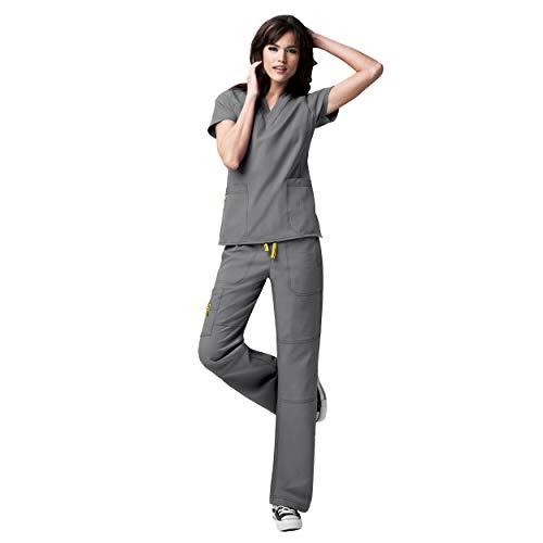 WonderWink Four-Stretch Women's Medical Uniforms Scrub Set Bundle- 6214 Sporty V-Neck Top & 5214 Elastic Waist Cargo Pant & MS Badge Reel (Pewter - Large/Large Petite)