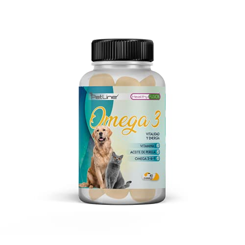 Omega 3, 6, 9 para Perros y Gatos | Protege y fortalece el Sistema Cardiovascular de tu Mascota | Protege la Piel de Perros y Gatos | Pelo más Sano, Fuerte y Brillante | 40 Gummies