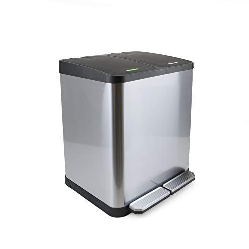 Emuca - Contenedor de reciclaje, Cubo de basura exterior con 2 compartimentos de 15 litros, Acero Inoxidable