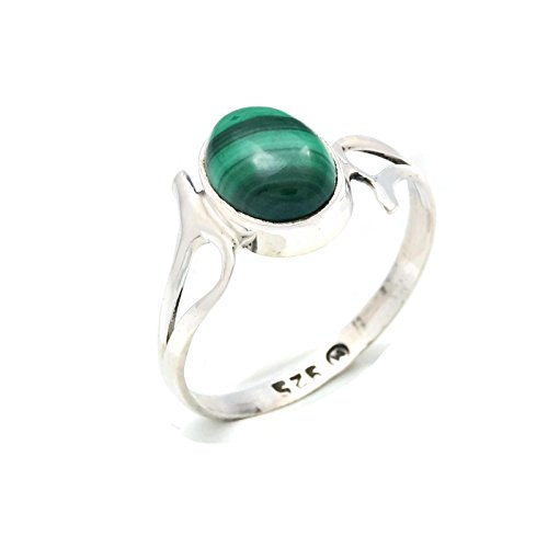 Ring Silber 925 Sterlingsilber Malachit grün Stein (Nr: MRI 141), Ringgröße:56 mm/Ø 17.8 mm