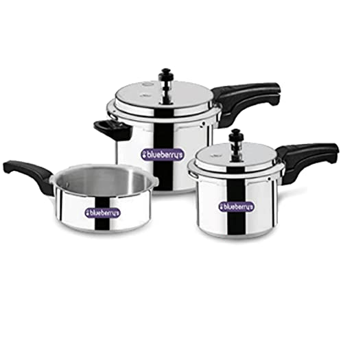 Blueberrys Aluminum Pressure Cooker 3 IN 1 Combo 5 + 3 + 2 Liter Double Lid , ISI Certified Induction Base & Gas Stove Compactable, Made In INDIA (SiIver) – BCC 1113
